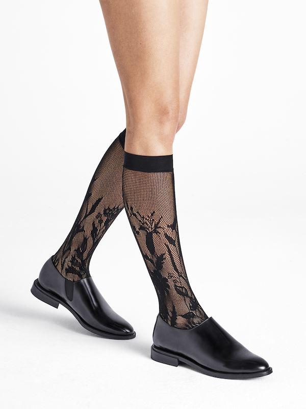 Køb Wolford – Wildflower Net Knee-Highs – Black – S – Sort